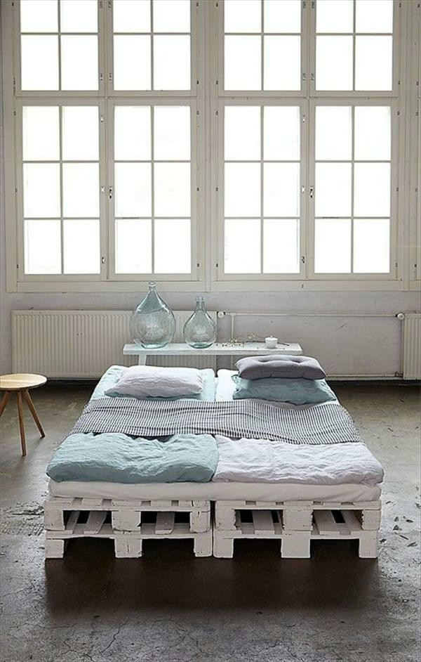 Minimalist In White Build Bed Frames Themselves Diy Frame From Euro Pallets