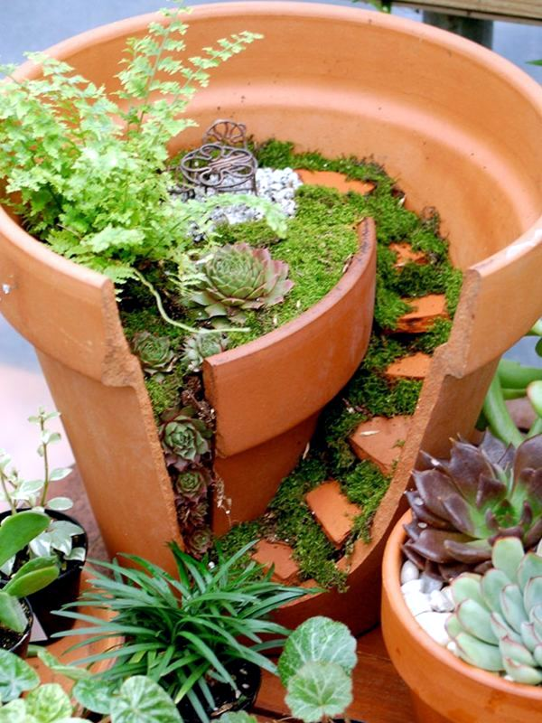 Creative Landscaping With Broken Plant Pots Interior Design