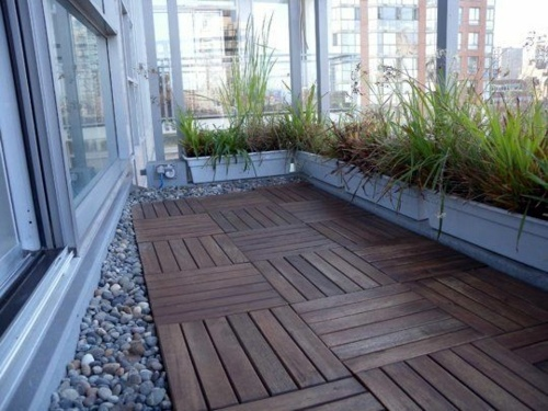 Wood tiling  wooden floor on the balcony