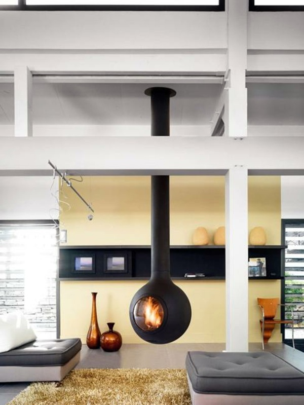 Hanging Stove  Modern Luxury Fireplaces  Interior Design