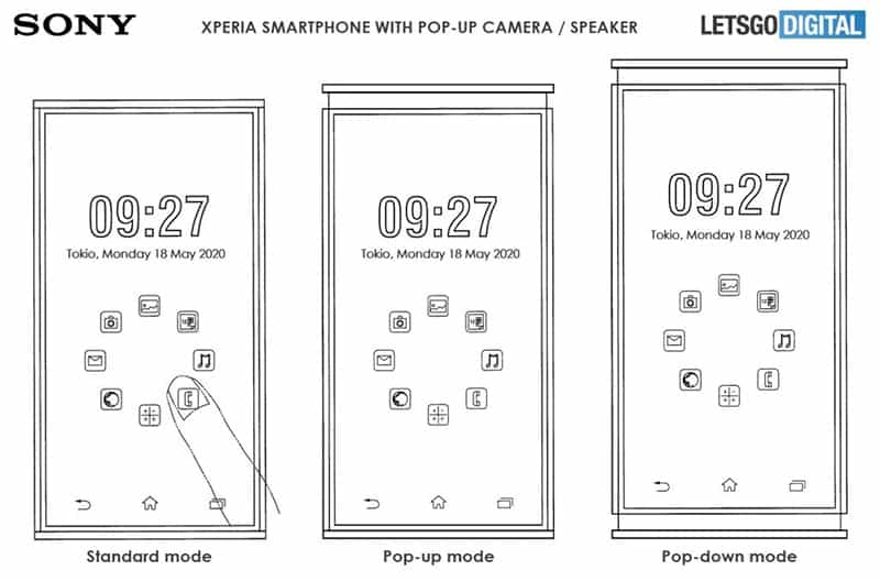 Sony จดสิทธิบัตรมือถือ Xperia ที่ pop-up ทั้งกล้องเซลฟี่