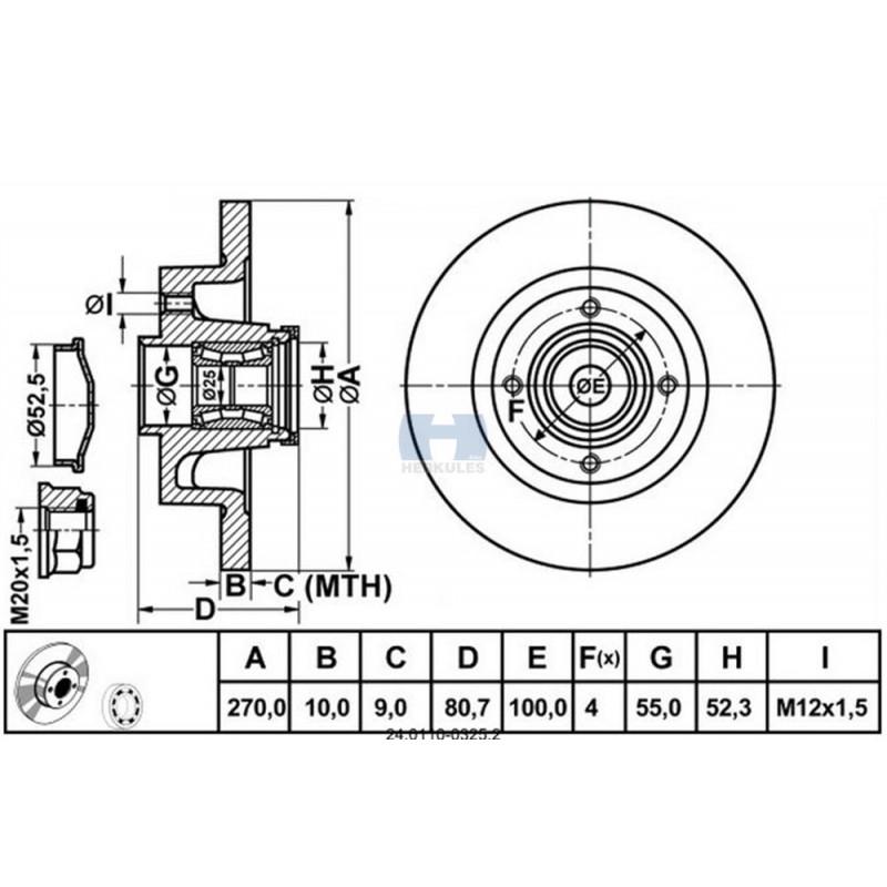 Kočioni disk RENAULT Megane II, Scenic II stražnji sa ležajem