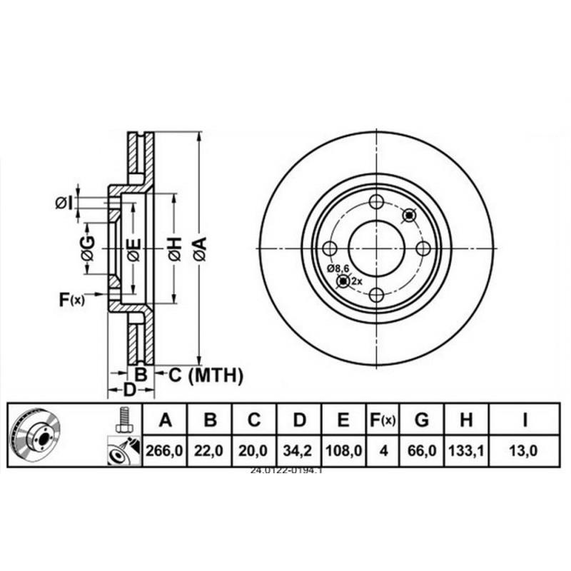 Zavorni disk CITROEN C3, C4, C5, PEUGEOT 206, 207, 208 prednji
