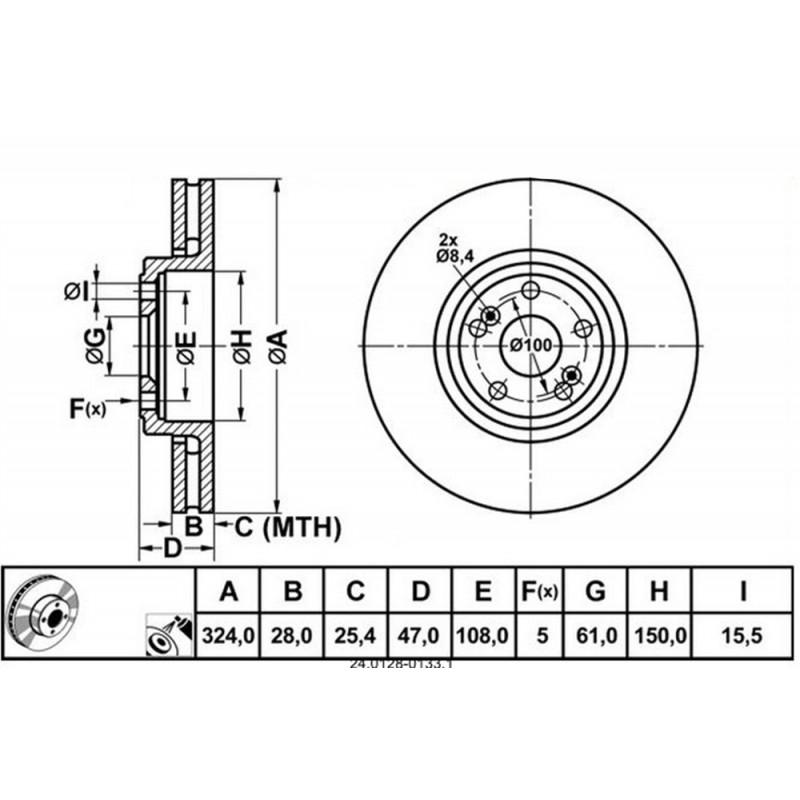 Zavorni disk RENAULT Espace 4, Vel Satis prednji