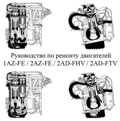 Скачать ремонт двигателей Toyota 1AZ-FE, 2AZ-FE, 2AD-FHV