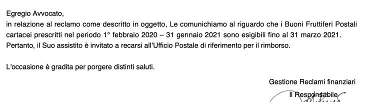 buoni postali prescrizione 2020 2021
