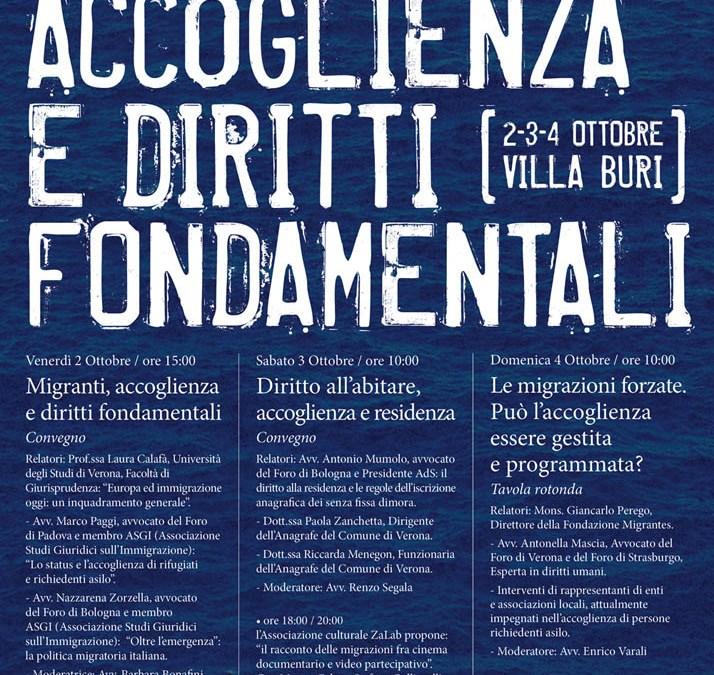 """2-3-4 ottobre, Verona: """"Migranti, accoglienza e diritti fondamentali"""""""