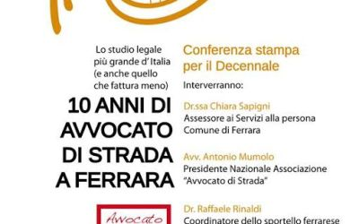 10 anni di Avvocato di strada Ferrara