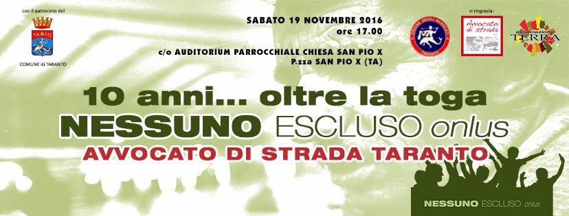 19.11.16 Oltre la toga, i dieci anni di Avvocato di strada Taranto