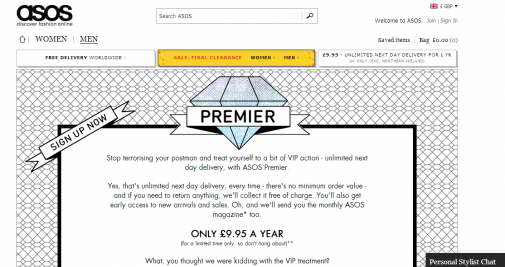 ASOS use time-based urgency to increase sign-ups for an offer to avoid delivery charges