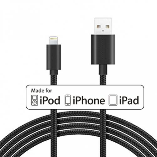 CERTIFIED MFI 6FT LONG BRAIDED USB CABLE POWER WIRE CORD