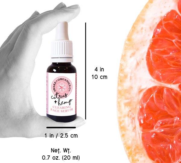 Citrus + Hemp Anti-Blemish Anti-Ageing Organic Face Serum. With Grapefruit, Seabuckthorn, Tea Tree + Rosemary. Consciously-Made in England by Awake Organics.
