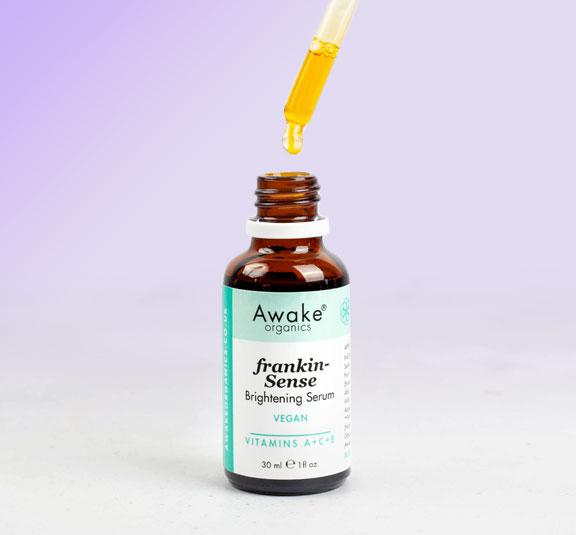 Frankincense   Brightening   Vegan Face Serum Awake Organics   Dropper Bottle Image