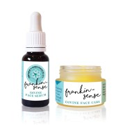 Frankin-Sense Rejuvenating Organic Face Cream and Organic Face Serum. Anti-ageing, for younger looking Skin. Pure and natural. Made with Frankincense, Cannabis (Hemp), Seabuckthorn, Rosehip, Camellia Tea, Carrot Seed. Consciously Made in England.