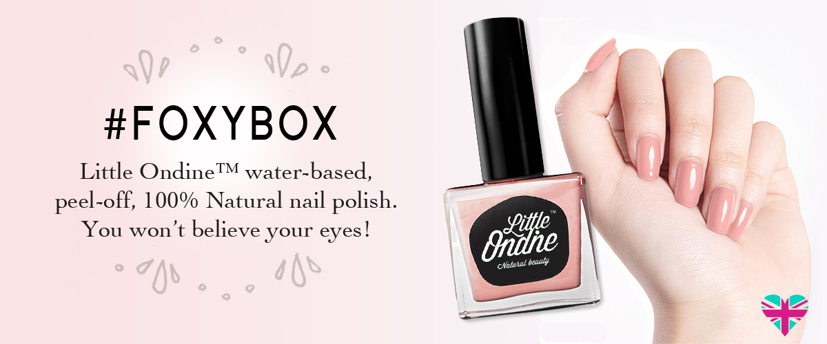 Little Ondine featured in #FoxyBox. Water based nail polish. Gift set Made in England by Awake Organics. Ethical, Cruelty free cosmetics.