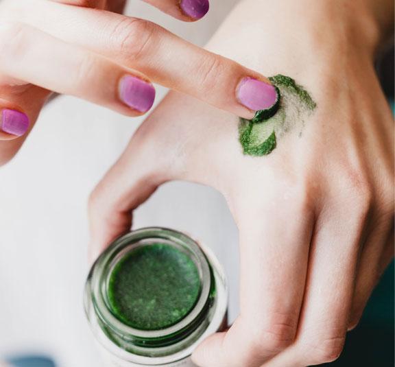 Sea Quartz | Crystal | Algae Cleanser | Vegan| Awake Organics | On Hand Image