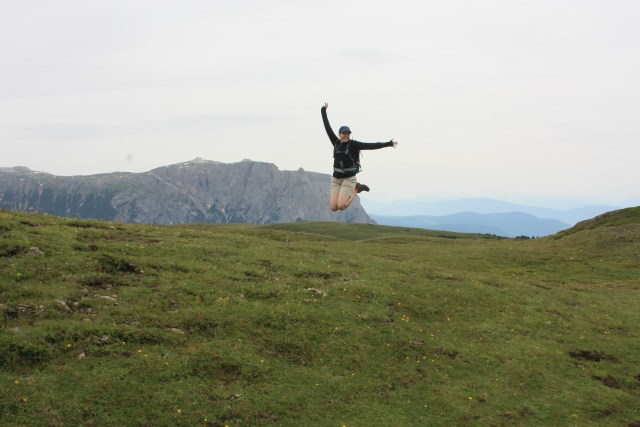 Jumping on Mount Bulacia's summit