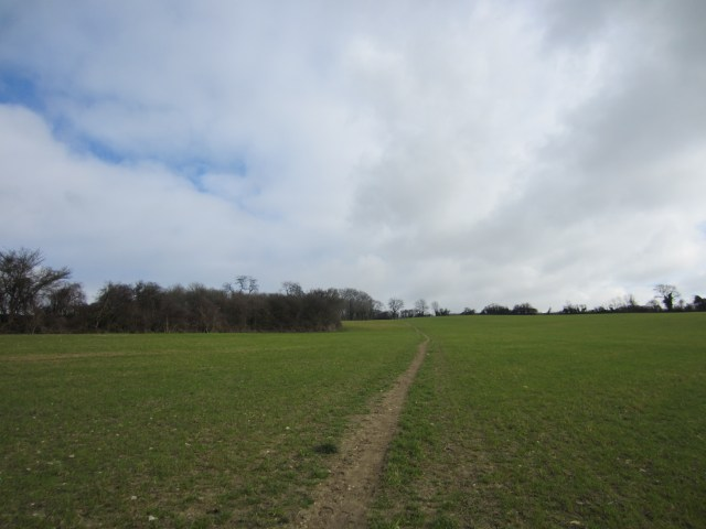 The path through fields is easy to follow