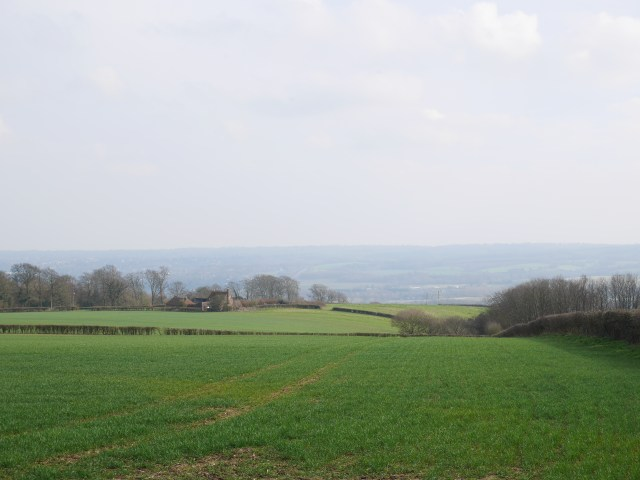 Looking down to farmland