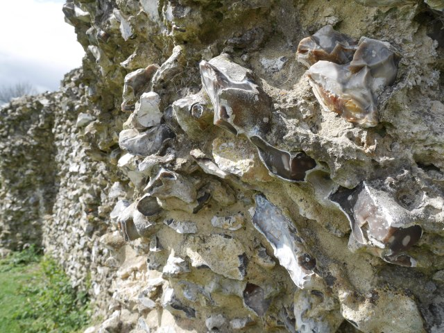 Flint walls at Thurnham Castle