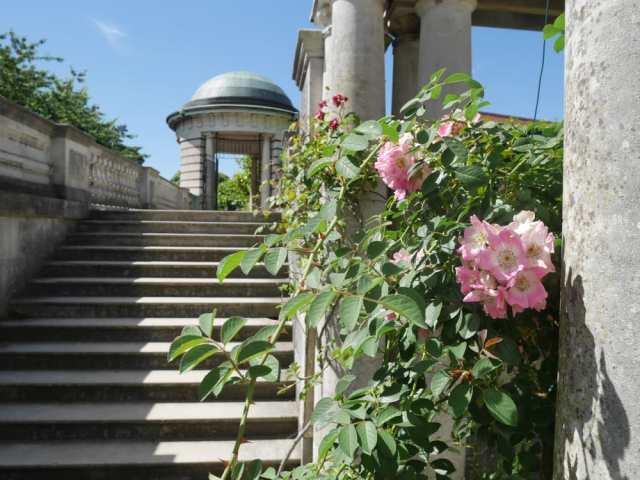 Near the top of the pergola walkway