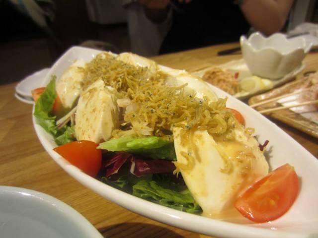 Tofu served with teeny fish