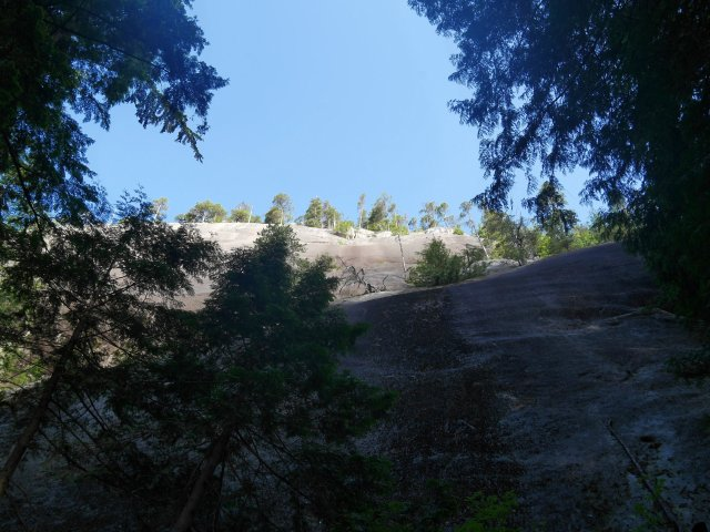 Looking up to the first peak