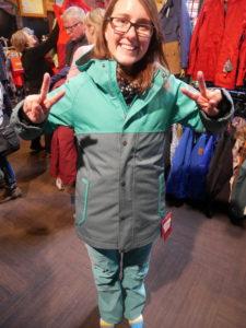 Trying on a ski coat and ski-pants