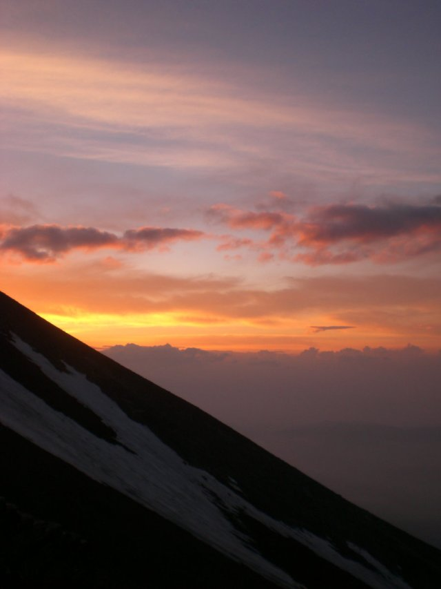 Mount Fuji sunset view from the 8th station