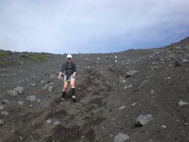 Running down Mount Fuji