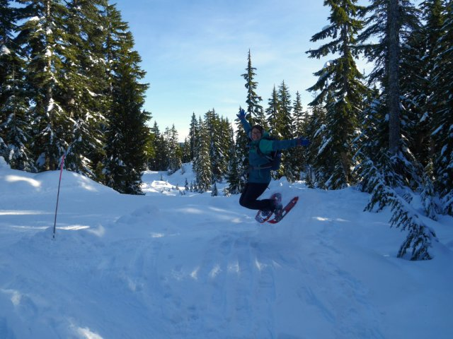 Jumping with snowshoes