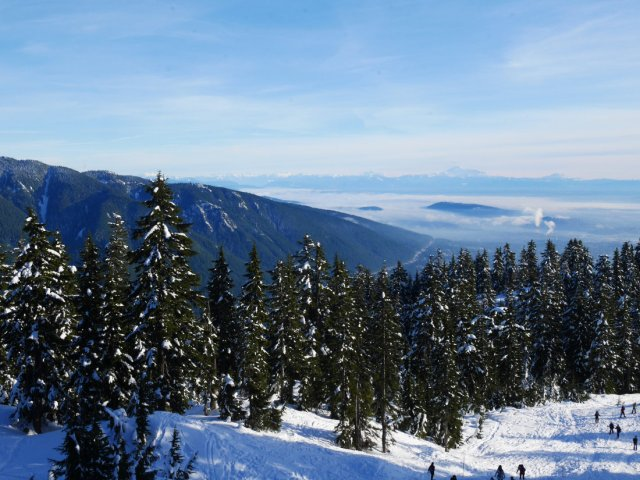 Looking down to Vacnouver from Hollyburn Mountain