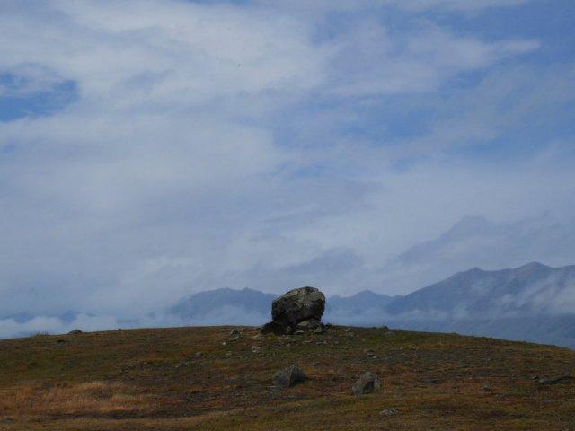 Huge rock on the lake Tekapo walkway