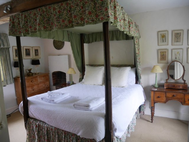 The bed in Grist Mill- Owlpen Manor