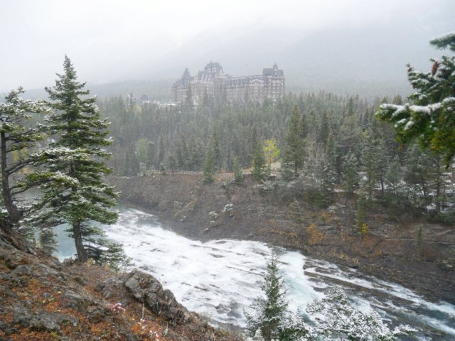 Bow River and Fairmont Banff Springs Hotel