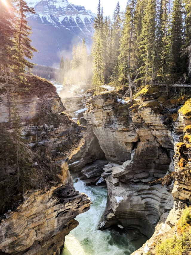 Gorgeous Canyon view as the sun rose over Athabasca Falls canyon