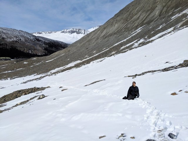 Marc kept sinking into post holes on the Athabasca Glacier Hike