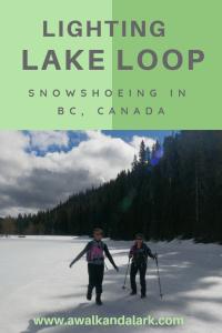 Lightning Lake Loop on ice - snowshoeing in Manning Park