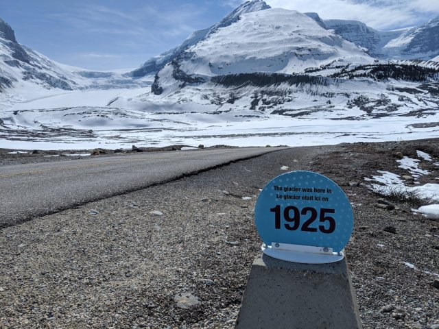 Toe of the Athabasca Glacier trail - 1925 marker