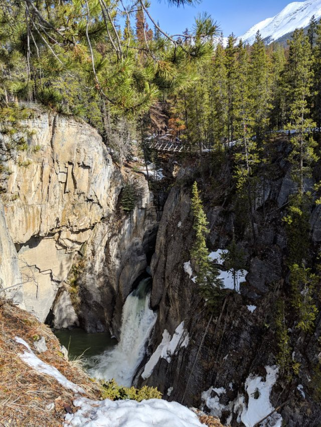 View of the Sunwapta Falls and the bridge