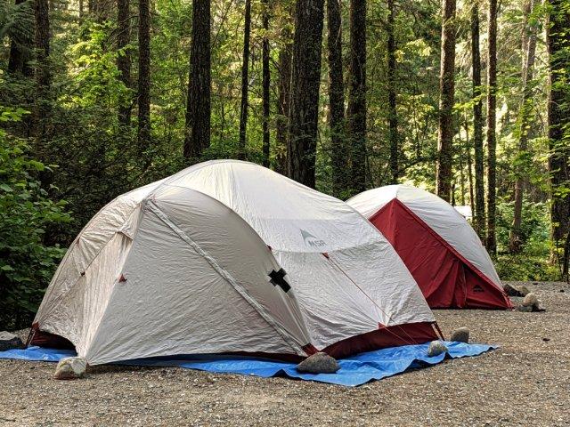 Camping at Nairn Falls - our tents
