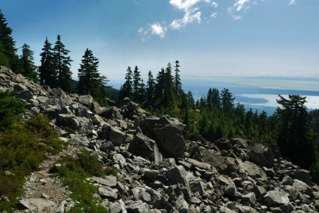 Hiking back with Vancouver views