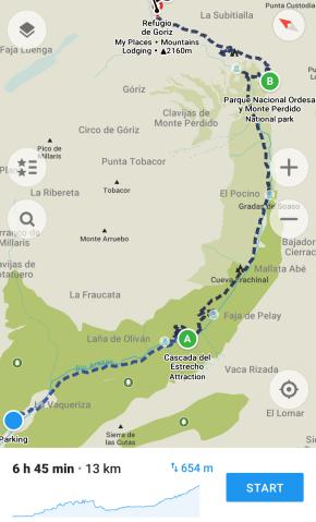 Ordesa Valley to Refugio Góriz Map