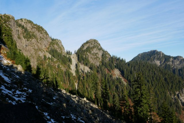 Looking up to Runners Peak (center) and Mount Elsay (right)