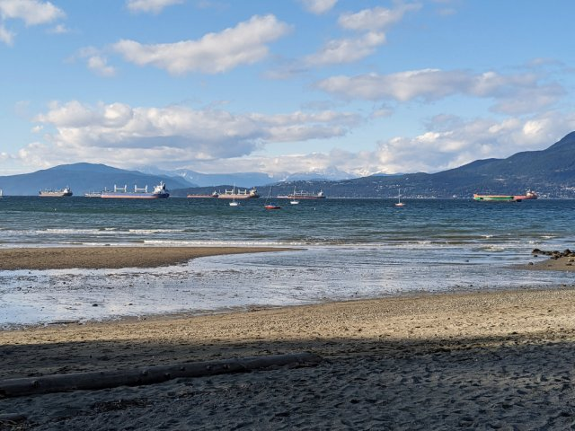 Kits Beach view out to the ships