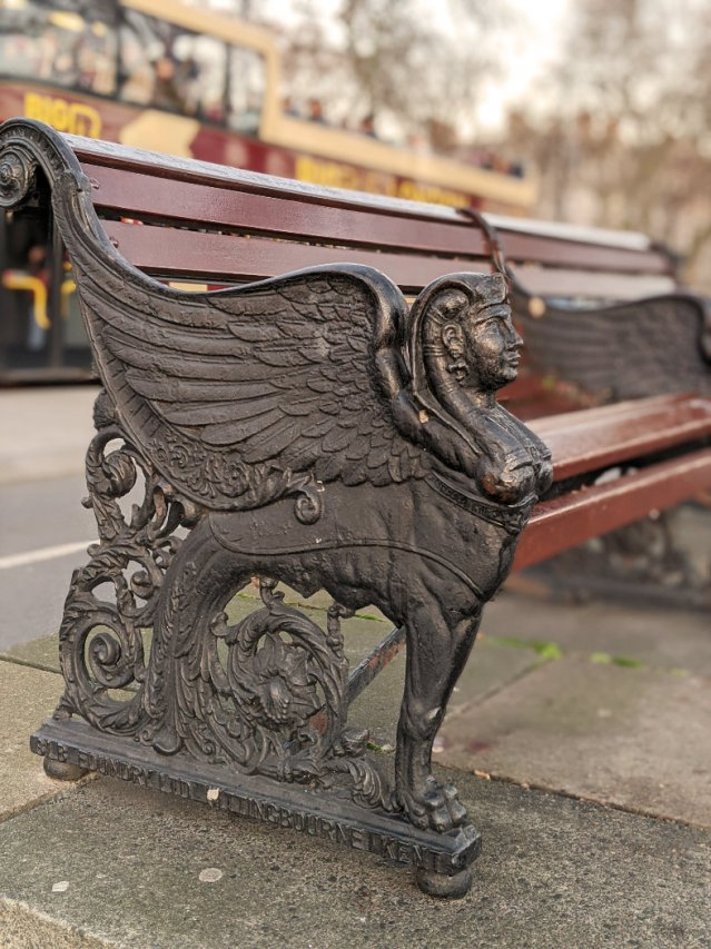 Sphinx on a bench - on the North Bank of the Thames Path