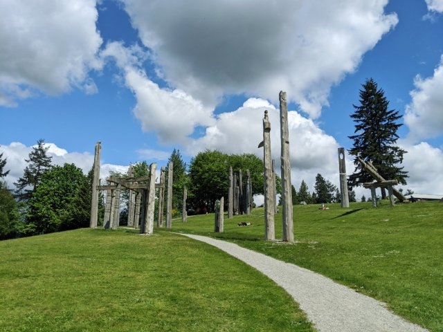 Looking up at the sculptures on Burnaby Mountain