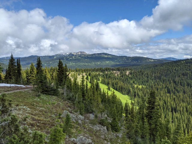 That rocky mountain is where we're heading - Three Brothers Mountain