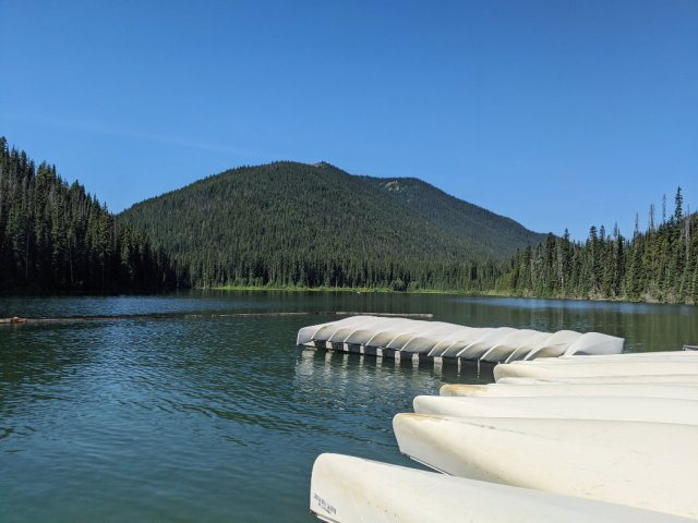 Canoes on Lightning Lake in Manning Park