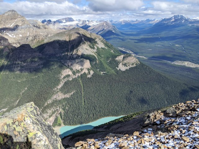 Lake Louise from above - Mount St Piran
